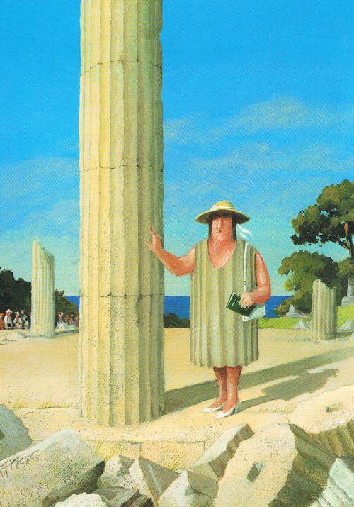 Duurzaamheid in Griekenland. Inspiratievol ontwerp van Gerhard Glück en op postkaart gezet. Meer humorkaarten van Gerhard te vinden in de Art Gallery www.postersquare.com