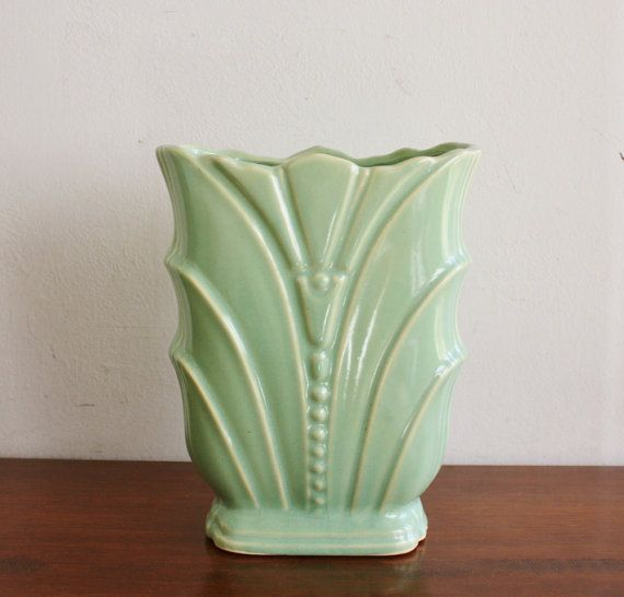 Vintage ceramic seafoam green vase, USA Pottery