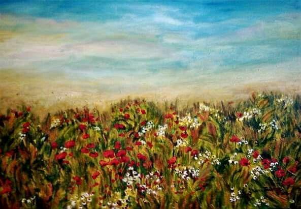 'Wild flowers' Acrylic on canvas 2001