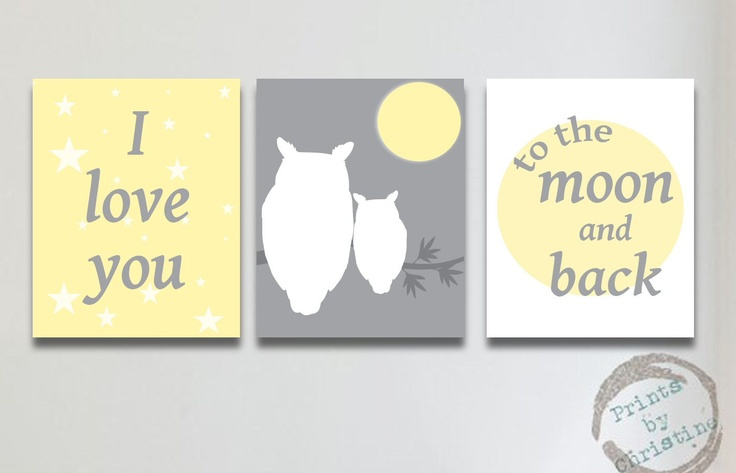 Nursery Art Yellow Gray Set of 3 I Love You To the Moon and Back Print Owl Baby Shower Gift Decor Silhouette Matches Bedding. $40.00, via Etsy.