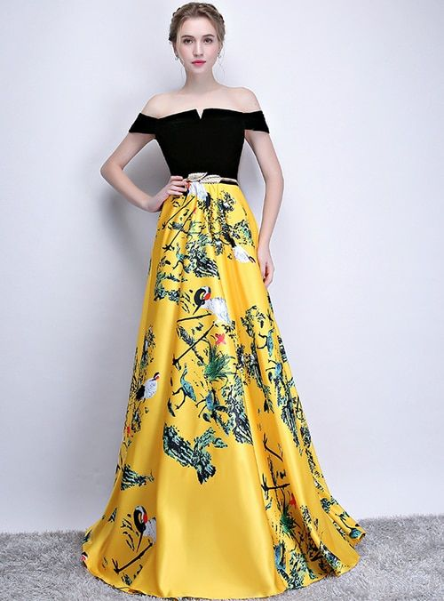 366bd705c5b03 Silhouette:a-line Hemline:floor length Neckline:off the shoulder  Fabric:satin Sleeve Style:sleeveless Color:yellow Back Style:lace up  Embellishment:print