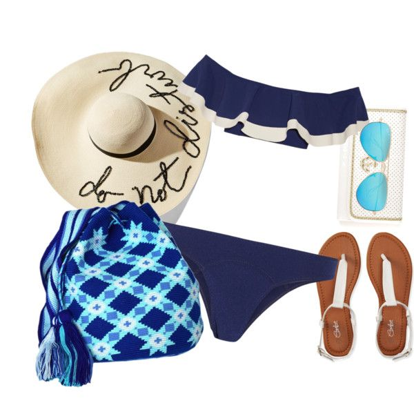 Wayuu Mochila Beach Style by kikacastro on Polyvore featuring Lisa Marie Fernandez, Aéropostale, Eugenia Kim and Ray-Ban