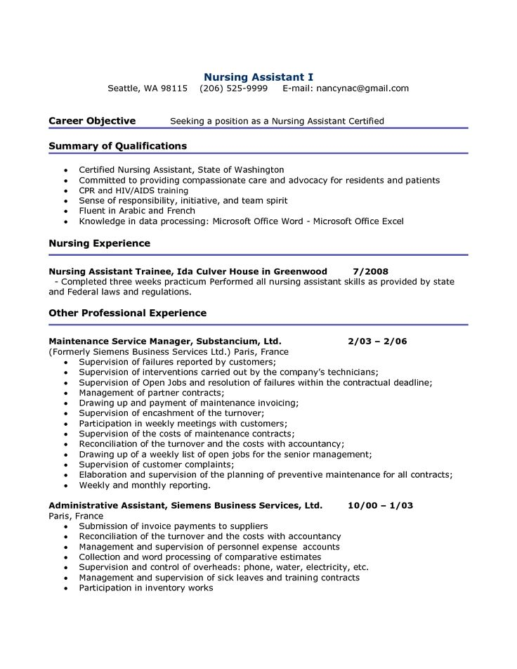 142 best CNA images on Pinterest Nursing assistant, Nursing - certified nursing assistant resume samples