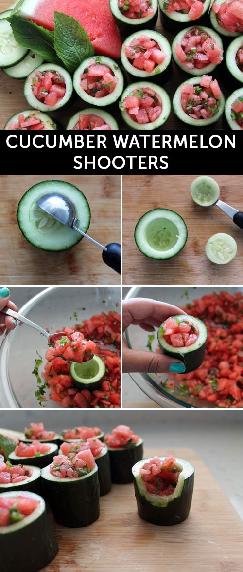 Spiked watermelon in cucumber cups