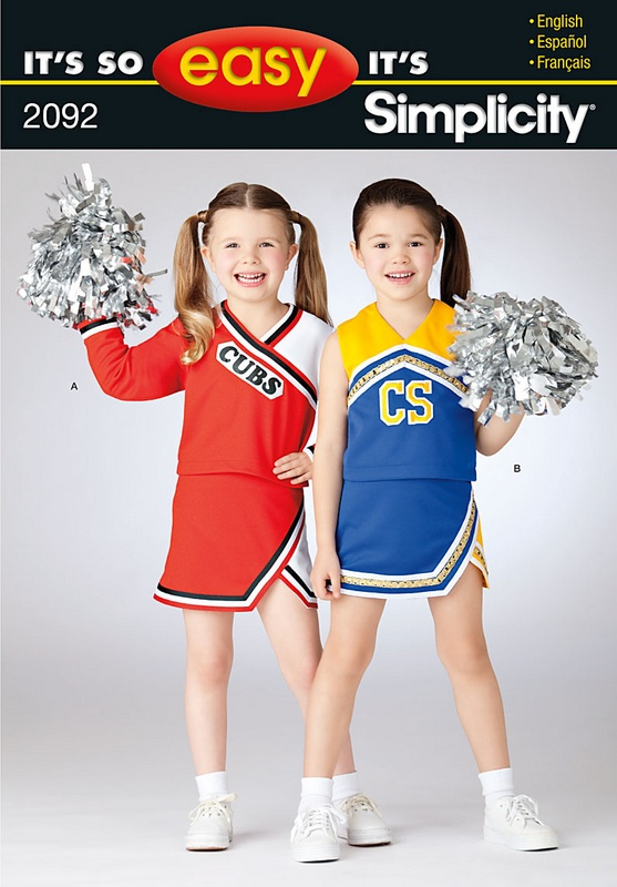 child and girl cheerleader costumes sewing pattern.