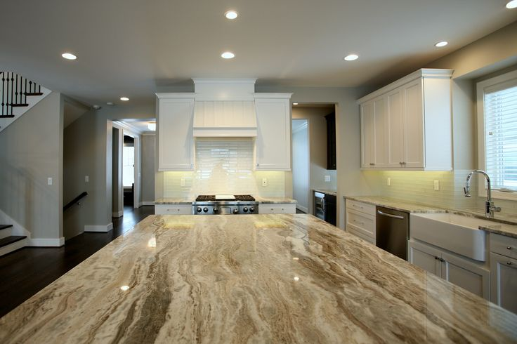 Brookhaven white cabinets and fantasy brown marble for Interior kitchen design birmingham