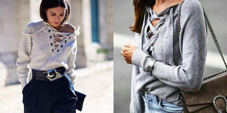 De lace up sweater