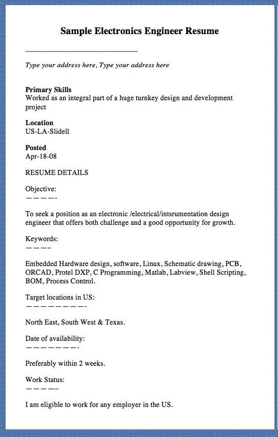Sample Electronics Engineer Resume Type your address here, Type - electronics technician resume samples