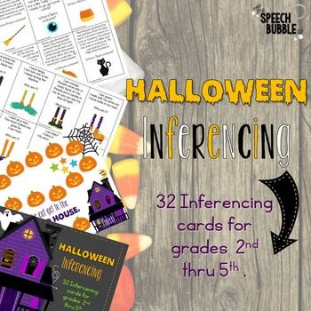 Want to add some spookiness to your inferencing work this Halloween? This activity will definitly entertain your ghouls and goblins ;) Determine which level you want your students to target, basic descriptions or story descriptions.  Students may read the card or have you read it to them.