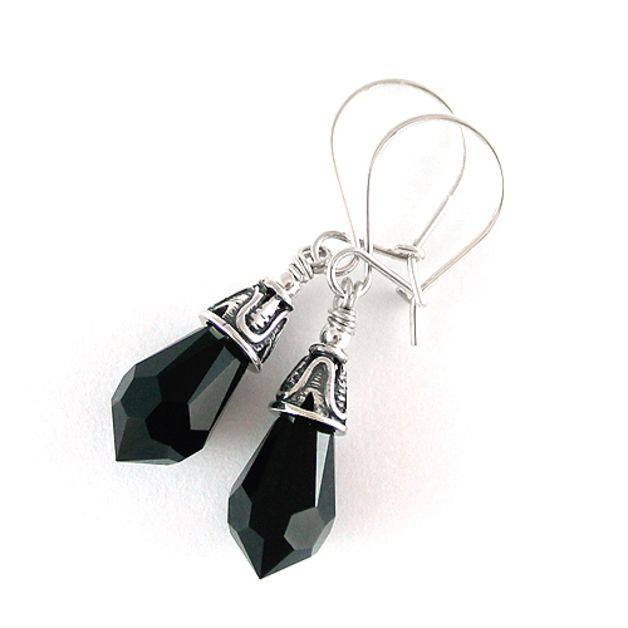 Black tearsrops and decorative silver.