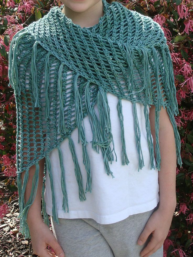 Free Knitting Pattern for Sweet November Shawl - Caryl Pierre was inspired by the shawl / scarf Charlize Theron wore in Sweet November to create this easy lace drapey wrap. Pictured project by lolamama.