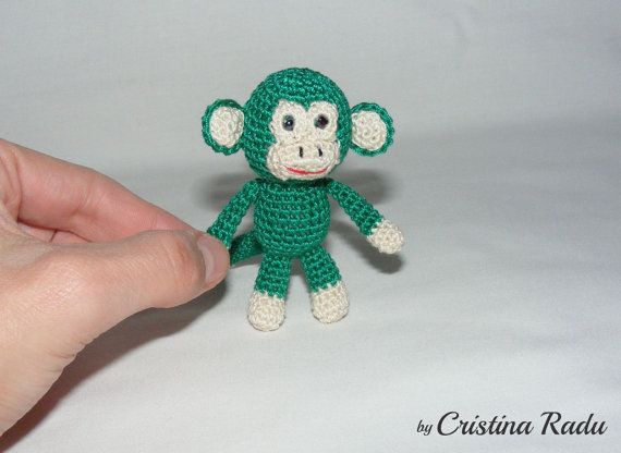 Keychain Monkey, crochet Monkey, Amigurumi Monkey, green Monkey keychain, luck charm Symbol Chinese New Year 2016, tiny Monkey, keyring toy