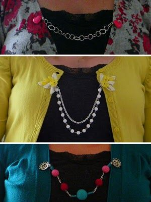 Little Tree Vintage: In Bloom Day 3: DIY cardigan chains with Style Crush!  ~ Yes, I know this is on my sewing board, but I wanted it near the DIY cardigan posts.
