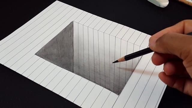 Easy Trick Art- How to Draw 3D Square Hole with Pencil - 3D Drawing