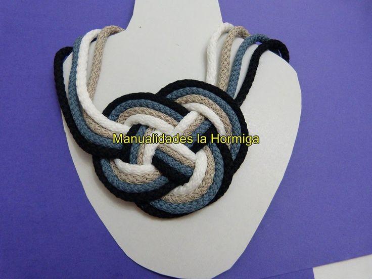 http://elrinconmagicodelasmanualidades.blogspot.com/ https://www.facebook.com/ManualidadesHormiga?ref=hl lindos collares artesanales en cordones, puedes elab...
