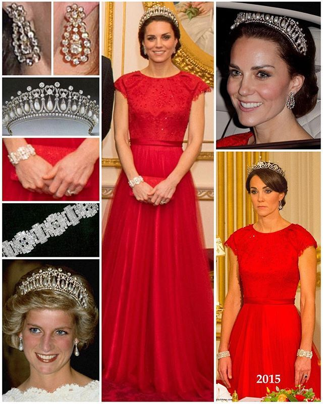The Duchess of Cambridge looking absolutely stunning at her third Diplomatic Reception. This is as fancy as you'll ever see her! This year she opted for the exquisite bespoke red Jenny Packham gown worn to last year's State Banquet with the Chinese President. To both the 2013 and 2015 Diplomatic Receptions, she wore an ice-blue lace McQueen gown.  Kate wore the Cambridge Lovers Knot Tiara for a second time - she first wore it to last year's Diplomatic Reception. In case you missed a previous…