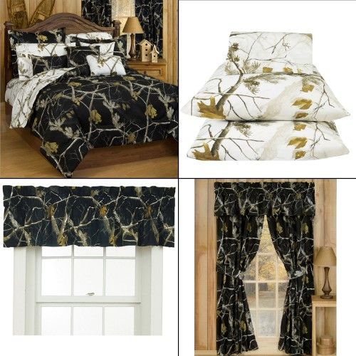 Realtree Ap Black Camo 7 Pc Full Size Reversible Comforter Set And