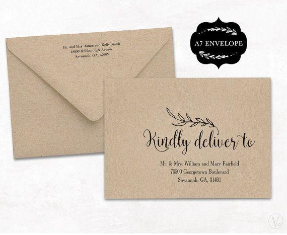 Wedding Envelope Template Printable Wedding by VineWedding on Etsy
