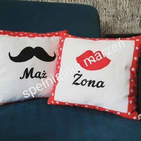 Zestaw poduszek: Mąż&Żona www.spelnialniamarzen.com.pl #mąż #żona #husband #wife #gift #weadding #ślub #prezent #rocznica #poduszki #pillows #spelnialniamarzeń