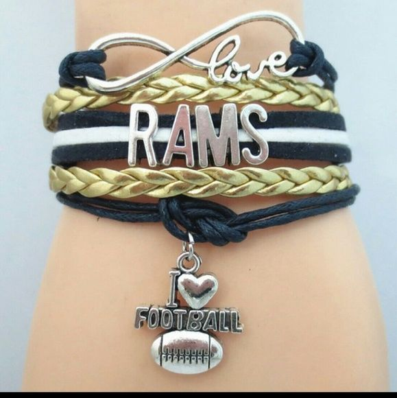 """Nwt Los Angeles  Rams football team bracelet Infinity bracelet  With charm Metal Alloy Faux leather Wax cord Lobster clasp Fits from 7"""" to 11""""  Discount on bundles Jewelry Bracelets"""
