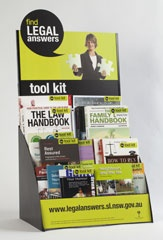 The Find Legal Answers tool kit is a collection of up to 20 plain language books to answer everyday questions about the law. The Find Legal Answers tool kit is available in all NSW public libraries. Find out more about Find Legal Answers at: http://www.legalanswers.sl.nsw.gov.au