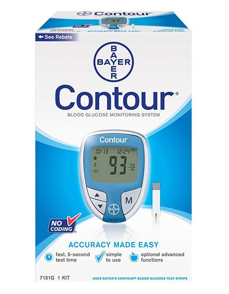 Diabetes Supplies - Bayer Contour Glucose Meter, $8.99 (https://www.diabeticwarehouse.org/products/bayer-contour-glucose-meter) The Bayer Contour Glucose meter requires small blood samples (0.6 microliters) and alternate site testing for virtually painless testing. Buy the meter from DiabeticWarehouse.org