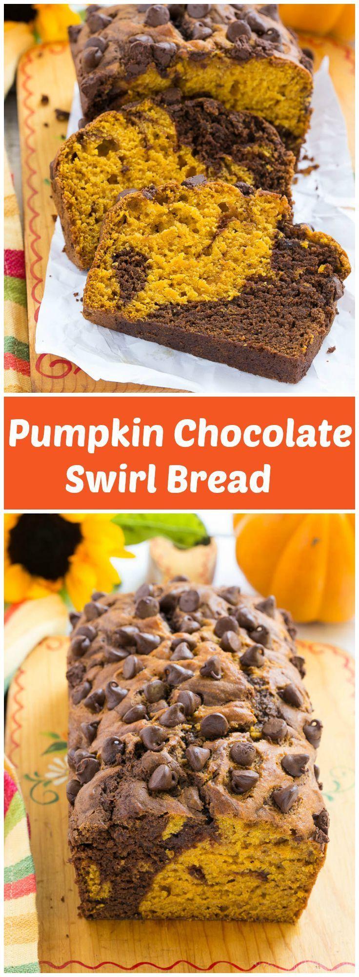 is sharing her recipe for Pumpkin Chocolate Swirl Bread! - Love, Pasta ...
