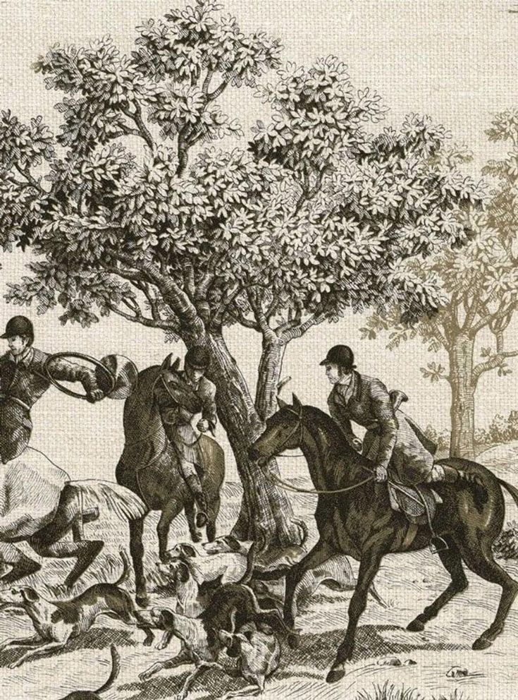 Tan Horse and Hound Hunting Scenes Linen Wallpaper CC52000