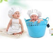 Новорожденных унисекс для маленьких мальчиков девочка шеф-повар шляпа Подставки для фотографий наряды Одежда для новорожденных одежда для...(China)