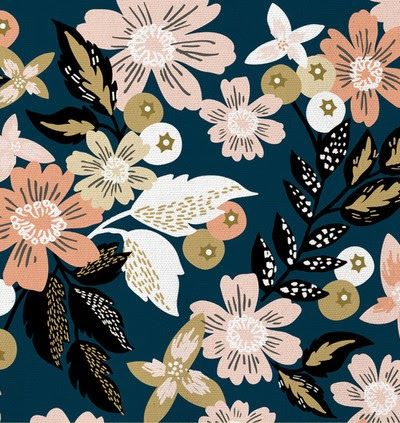 print & pattern Alethea and Ruth, modern floral, design print,, pattern, repeat, colour, navy, teal, pink