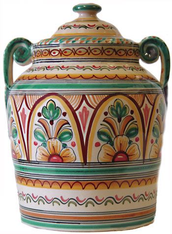 Ceramic Cookie Jar. Antique Green: This piece has been individually handcrafted and signed by artisans from a small family owned factory in Toledo, Spain and is signed on the bottom by the artist who painted it. It