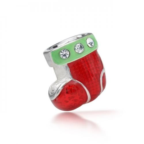 925 Sterling CZ Christmas Stocking Holiday Charm Pandora Compatible