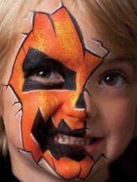 cute! Pumpkin face paint for Halloween - Pumpkin face paint