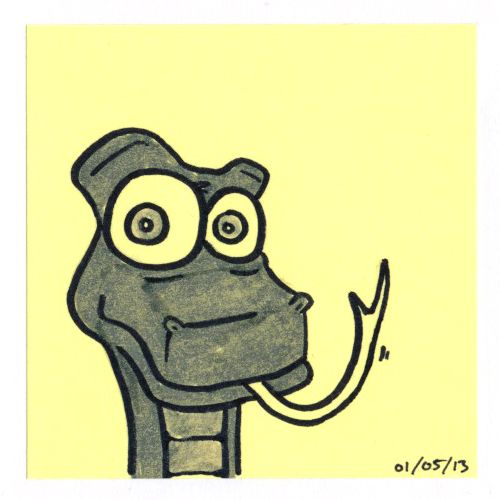 365 #daily #post-it #drawing of a snake