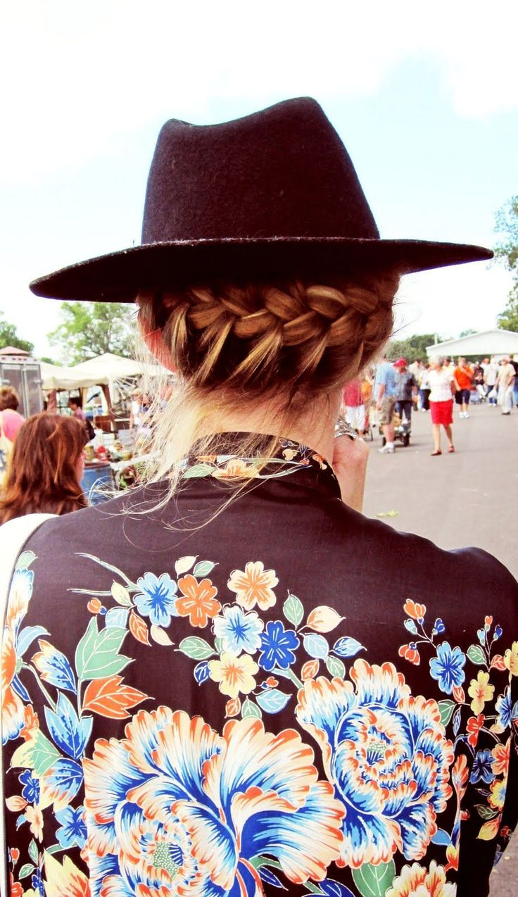 Braids and a fedora hat — the coolest combo to try this weekend.