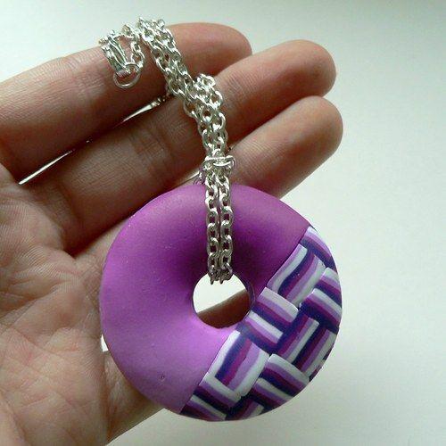 Růžové kostky - náhrdelník, polymer caly, fimo