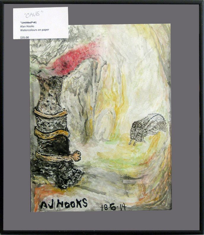 #22   Artist: Alan Hooks   Title: Cave   Medium: Water Colour on paper   Dimensions: 15 in. x 8.7 in.   Framed: 15 in. x 13 in.
