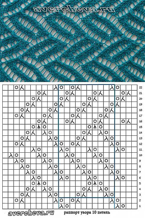 узор спицами 522 | каталог вязаных спицами узоров | Узоры спицами