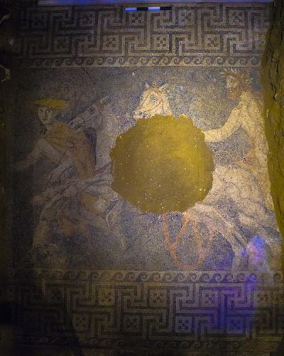 Amphipolis tomb mosaic - chariot led by Hermes - Amphipolis, #Macedonia #Greece