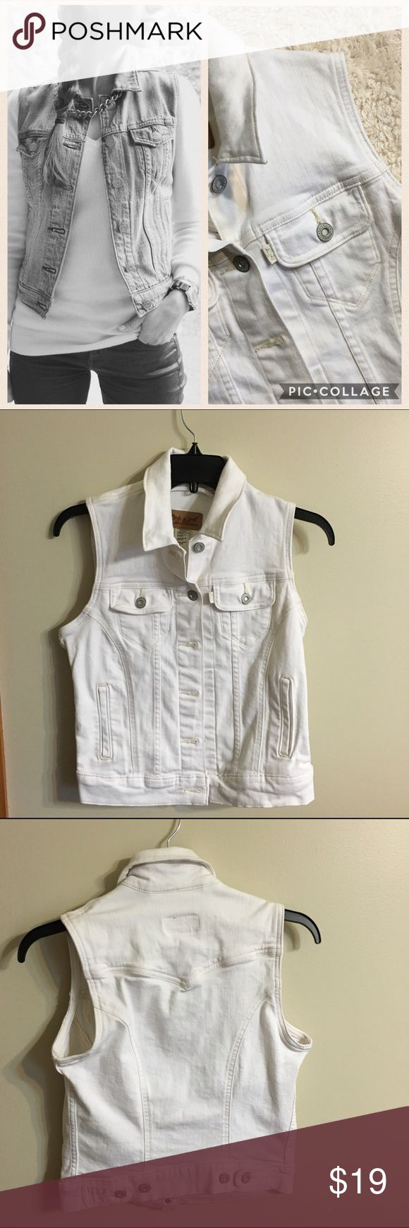 Levis White Denim Vest Levis White Denim Vest Like New Worn Once Size Small No Size Tag NO Stains! Levi's Jackets & Coats Vests