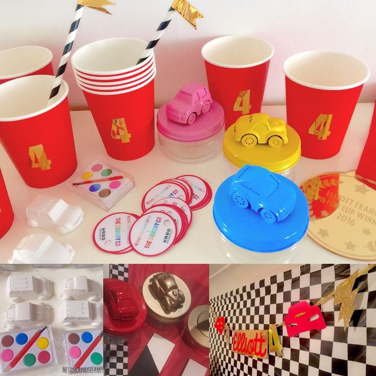 Image of Race cars - jar, balloons, cups and banner