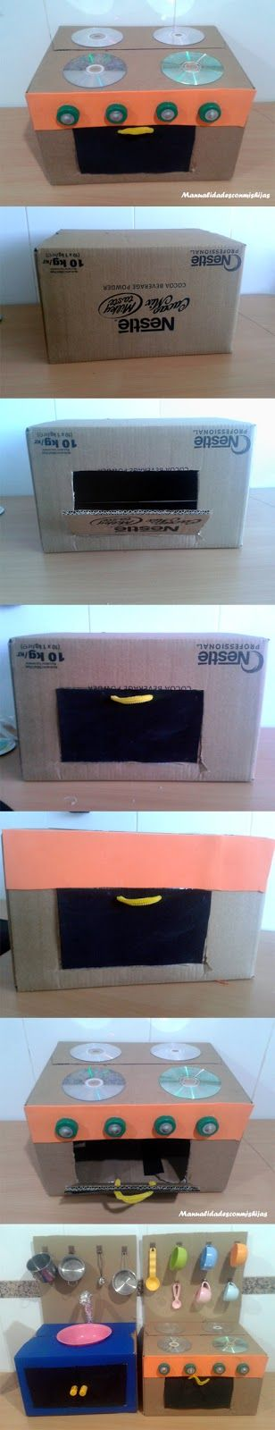 Manualidades con mis hijas: Cocinita con cajas de cartón