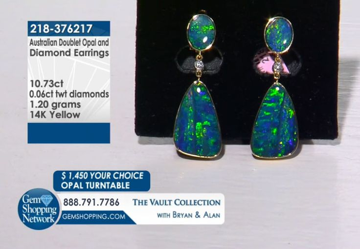 10.73 ct Australian Doublet Opal & 0.06 ctw White Diamond 14K Yellow Gold 1.20gr Earrings Size Item #218-376217 Tune into Gem Shopping Network to see stunning gemstones and jewelry 24/7. Magnificent emerald rings, blue tanzanite earrings, platinum diamond bracelets, or estate sapphire necklace are just a click away! Visit our website to day and discover your jewelry destination.