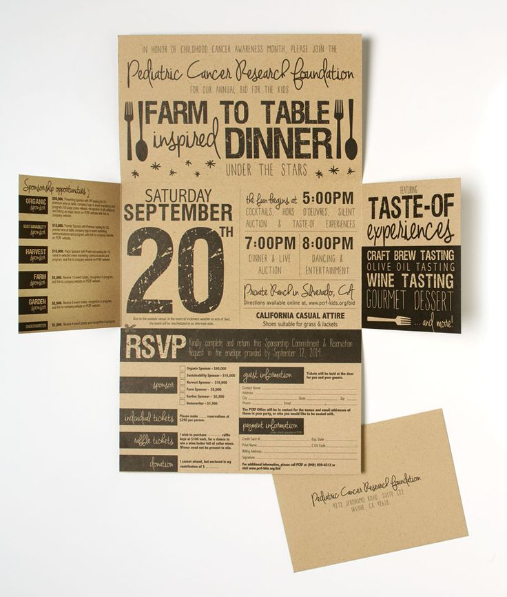 Charity Gala Invitation Details The goal was to create an invitation that stressed the new environment, theme and overall casual feel of the event: a farm-to-table–inspired dinner.