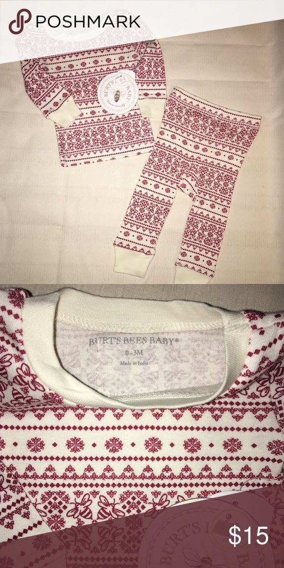NWT Burts Bee's 2pc organic cotton pajama set New With Tags Burt's Bees 2pc unisex pajama set Cream with red flakes and bees.  Super cute and soft. Organic cotton! Size 6-9mos  No rips or stains. Pet and smoke free. Burt's Bees Baby Pajamas Pajama Sets