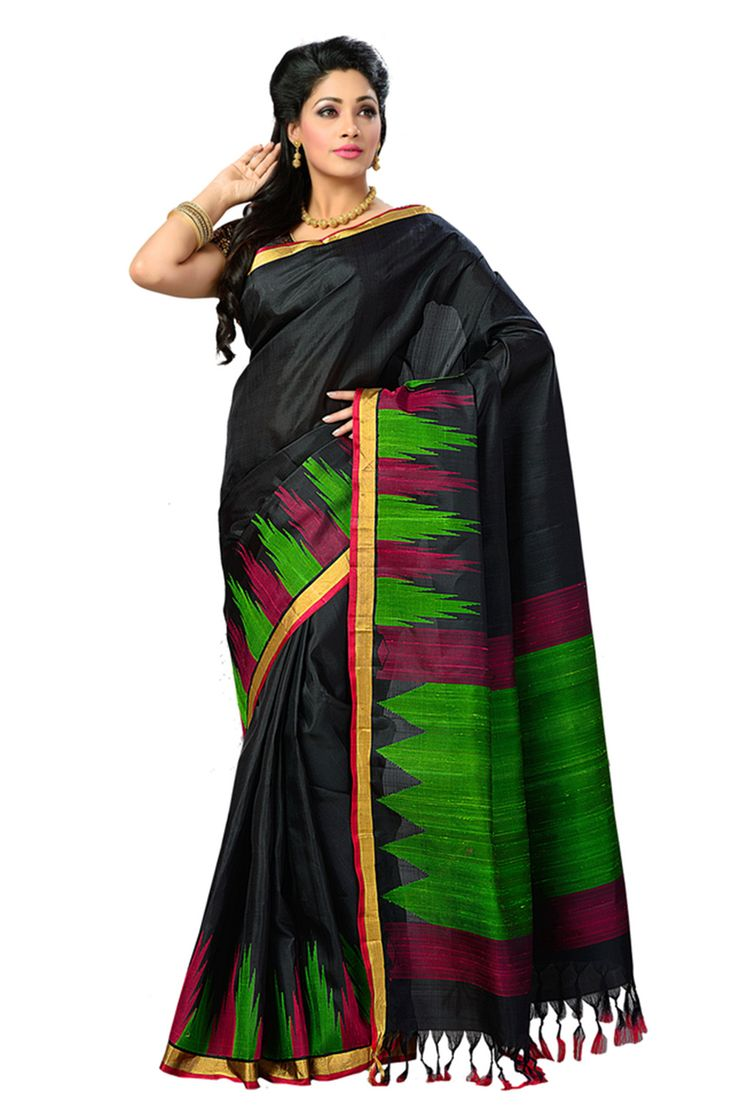 Pure silk black saree with multicoloured border and woven multicoloured pallu which makes the wearer look lovely, this traditional saree enhances the wearers beauty and makes the wearer stand out in a crowd