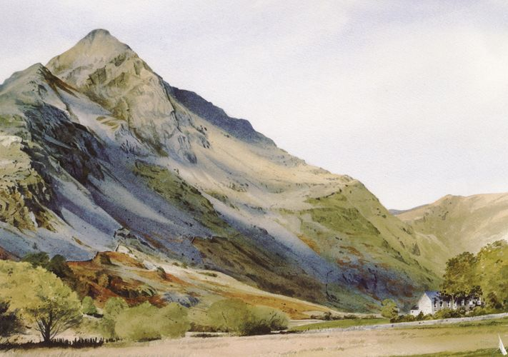 Cnicht from Cwm Croesor, greeting card from an original watercolour painting by Rob Piercy