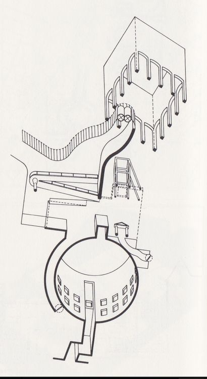 worm's eye abstract - competition design - Museum for North Rhine Westphalia Art Collection - James Stirling - 1975