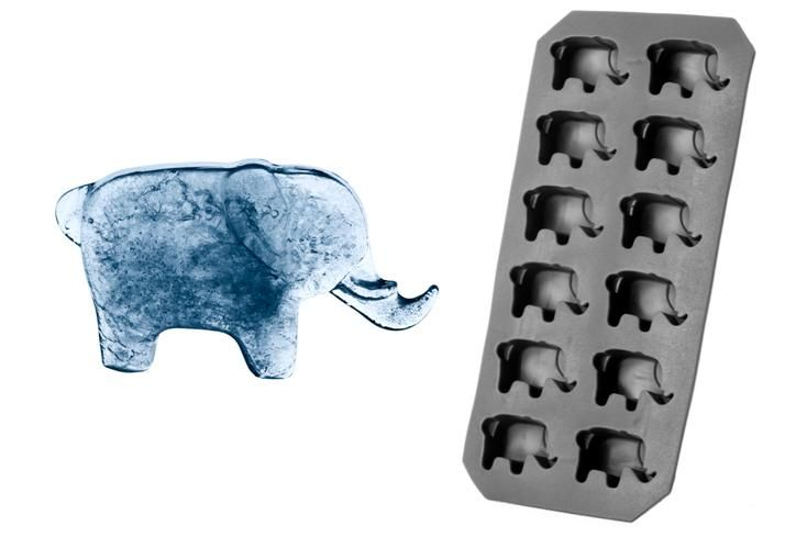 The must-have drinks accessory this summer… ELEPHANT-shaped ice cubes to keep your drinks cool! This flexible plastic ice cube tray makes 12 elephant-shaped ice cubes. Dimensions 11 by 22 cm.