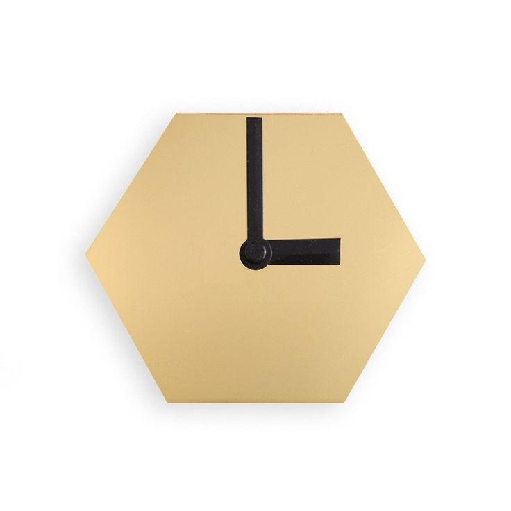 Amindy - GEO Hexagon Desk Clock - Mirror Gold - $49 - Shop online at www.amindy.com.au